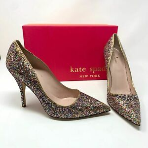 New Kate Spade New York Licorice Too Glitter Pumps Old Gold Metallic Size 9.5