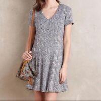 Dolan Anthropologie Heather Gray Ribbed Knit V Neck Short Sleeve Swing Dress M