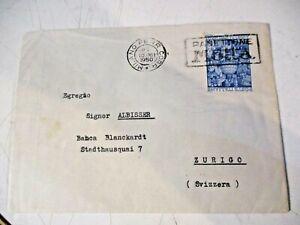 """Heiliges Jahr L.55 Isoliert Brief Ausland """" Milano Eisenbahn Corr. 10 XII 1950 """""""