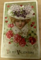 1913  WINSCH SCHMUCKER VALENTINE POSTCARD BEAUTIFUL LADY HEART-COAT-HAT FLOWERS