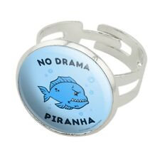 No Drama Piranha Fish Funny Humor Silver Plated Adjustable Novelty Ring