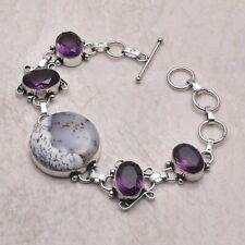 Handmade Bracelet 21 Gms Ab 56695 Dendrite Opal Amethyst Ethnic Gift Jewelry