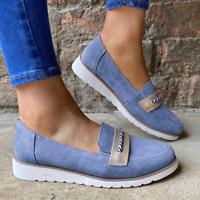 Womens Round Toe Flats Casual Low Heel Comfort Retro Roman Lady Espadrille Shoes