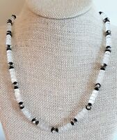 Vintage Clear Cut Barrel Black Glass Bicone Beads & Rhinestones Beaded Necklace