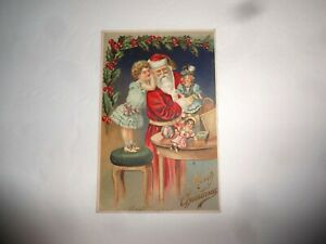 Antique 1909 Embossed Christmas Postcard Santa Girl Toys Made Germany
