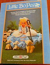 """Crochet Motif Fibre Loisirs Créatifs Petit Bo Peep13 """" Lit Poupée 1987"""