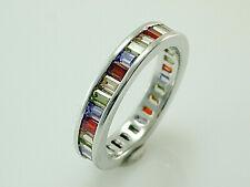 925 Silber Ring mit  Zirkonia Steinen Multi Colour  Größe 59