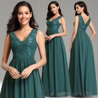 Ever-Pretty Green Long Bridesmaid Dresses Chiffon V neck Formal Prom Gown 07577