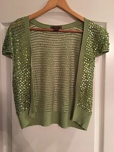 New Women's Green Crop Knit Sequins Short Sleeve Open Cardigan Size Large
