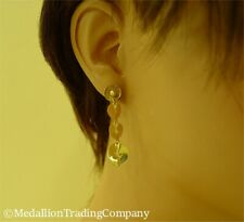 Artisan 18k Yellow Gold Modern Minimalist Fashion Geometric Disk Dangle Earrings