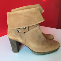 Clarks Camel Brown Nubuck Leather Pull On Block Heel Boots UK 6 EUR 39