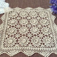 Vintage Hand Crochet Lace Doily Square Cotton Table Cloth Topper Ecru 19inch