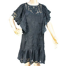 STELLAH Black Semisheer Mini Dress Boho Babydoll Tunic Large Lace Embroidery NWT