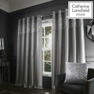 Catherine Lansfield Glitzy Grey Eyelet Curtains Sequins Ring Top Curtain Pairs