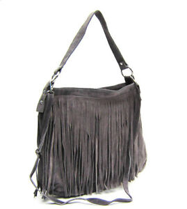 Made in Italy  Gray Ladies beautyful  HOBO suede leather Fringe ! Hand made
