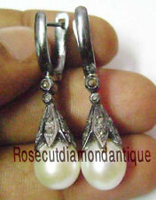 NEW ARTDECO VINTAGE 0.68ct ANTIQUE ROSE CUT DIAMOND SILVER PEARL DANGLE EARRINGS
