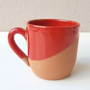 Earthenware Cup Handmade, Natural Terracotta Coffee Beverage Mug Red