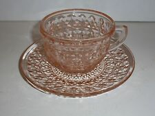 Vintage Jeannette Glass Holiday Buttons & Bows Pink Depression Glass Cup/ Saucer