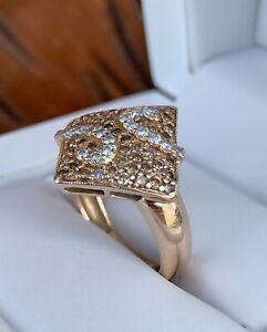 14ct Chmapagne & White Diamond Rose Gold Ring