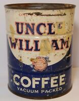Vintage 1940s UNCLE WILLIAM COFFEE TIN GRAPHIC ONE 1 POUND CAN MARSHALLTOWN IOWA