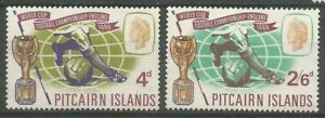 PITCAIRN ISLANDS 1966 QEII  MVLH World Cup England Champions Set of 2 SG57-58