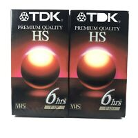 TDK 2 Pack Blank  VHS Tape Premium Quality HS T-120 6 Hour EP New & Sealed
