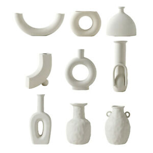 Nordic Minimalist Ceramic Vase for Dried Flower White Decorative Flower Vase