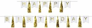 Happy Birthday Letter Banner with Gold Tassel Streamers Party Wall Decoration