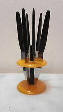 Art Deco Bakelit/Kunst Bernstein Set 6 Obstmesser&Ständer Vintage Bauhaus