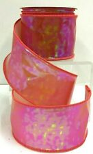 """Pink Holographic Wired Ribbon~2 1/2"""" W x 10 yd"""