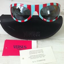019a2ea342d7 Vintage New Gianni Versace Versus Sunglasses Catwalk Striped Red Blue