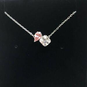 Auth Set Swarovski Rhodium Sparkle Attract Soul Pink Necklace 5517115