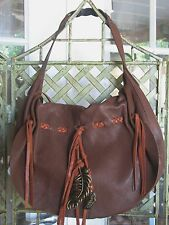 LUCKY BRAND Hollywood & Vine Hobo Shoulder Brown Leather Bag Hand Purse