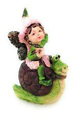 Miniature Flower Fairy Riding Snail Figurine Faerie Garden Mini Elf Decor