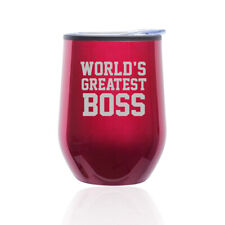 Stemless Wine Tumbler Coffee Travel Mug Glass Cup w/ Lid World's Greatest Boss