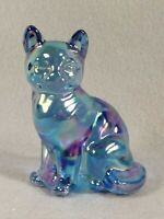 Fenton Sitting Cat Blue Carnival Iridescent Oval Art Glass Figurine