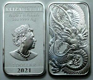 2021 AUSTRALIAN DRAGON 1 oz 9999 Fine Silver Rectangle Coin Bar Perth Mint, N R;