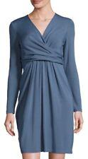 83% Off MSRP $598 Lafayette 148 Long-Sleeve Empire Waist Faux-Wrap Dress Blue L
