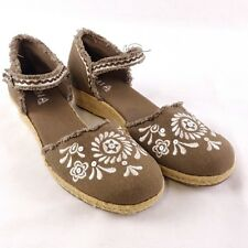 Mia Womens sz 4.5 Fiesta Espadrilles Brown Floral Embroidery Ankle Strap Flats