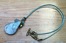 Lovely Blue Shell Pendant Charm Necklace/Eclectic/Glass/Metal/Beaded/Summer