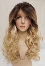 Free part Blonde Human Hair Wig, Real Hair, Hair Blend, Long, Ombre Lace Front