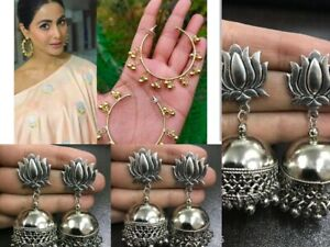 Combo 2 Pairs Indian Oxidized Silver Gold Earring Jewelry Bollywood Afgani Pair