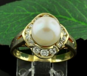 0.45 ct 18k Solid Yellow Gold Natural Cultured Pearl & Diamond Ring 8mm pearl