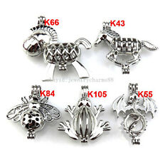 21626 5X/lot Wholesale Silver Locket Bee Horse Frog Donkey Pearl Cage Pendant