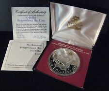 1973 Bahamas 10 Dollar Independence Coin Proof Silver  ** FREE U.S. SHIPPING **