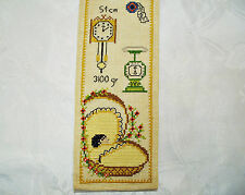 VINTAGE BIRTH CERTIFICATE HAND EMBROIDERY BEIGE YELLOW COTTON WALL TAPESTRY