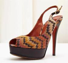 MISSONI Orange Iconic Weave Peep Toe Platform Stiletto High Heel Pump Shoe 7-37