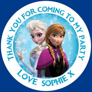PERSONALISED FROZEN ANNA & ELSA GLOSS BIRTHDAY PARTY BAG SWEET CONE STICKERS