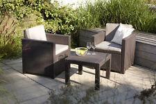 Balkonset 2x Sessel + 1x Tisch Poly Rattan Sitzgruppe Gartensitzgruppe Terrasse
