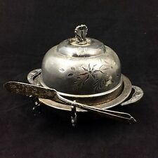 Vintage Westminster Heavy Silver Plate Butter Dish w/ Knife